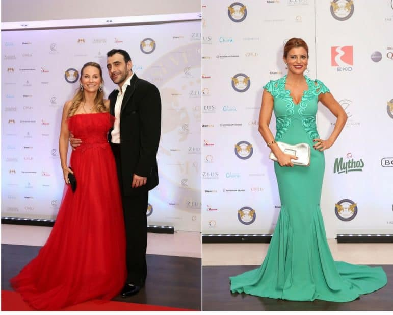 Khalil El-Mouelhy, Chairman, President & Founder of SSLHLA and his beautiful wife CEO & CO Founder Nicola Brookes El-Mouelhy Dressed by Christos Costarellos. On the right Turkish Celebrity and TV Star Ece Vagapoglu