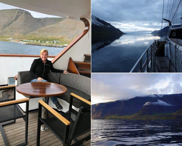 Sundeck Area onboard the M/S Panorama and the view of Iceland
