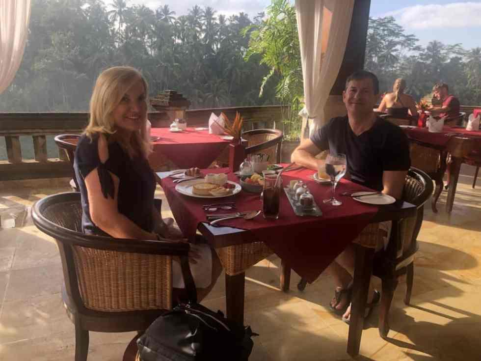 Enjoying Breakfast at CasCades Restaurant Viceroy Bali