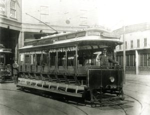 "First trolley of Boston's present-day MBTA system. ""Allston,"" ""Pearl St.,"" and ""Park St."" displayed on the car. 9/1/1897"