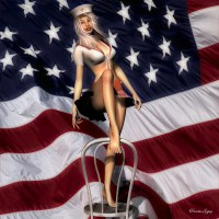 Flag Pinup digital art