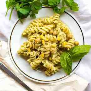 Last Minute Potluck Chickpea Pesto Pasta