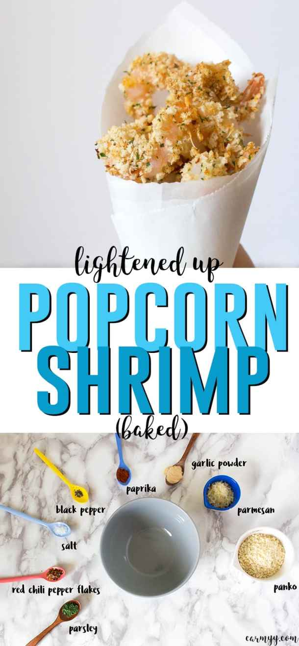 This lightened up baked popcorn shrimp is flavour packed without being calorie packed. Easy to make, lightened up, and crispy!