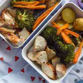 One Sheet Pan Honey Mustard Chicken + Veggies (Meal Prep + Video)