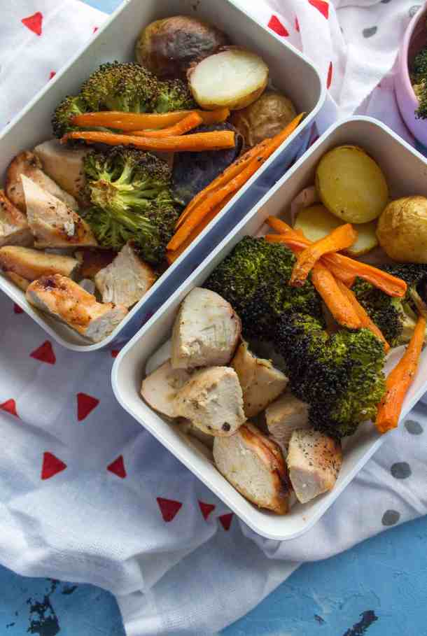 Need a meal prep idea for this week? Why not try this delicious one sheet pan honey mustard chicken and veggies! It's simple, delicious, and fast to make!