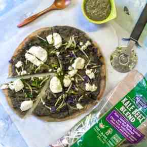 Kale Beet Pesto Pizza with a Chickpea Crust + Video