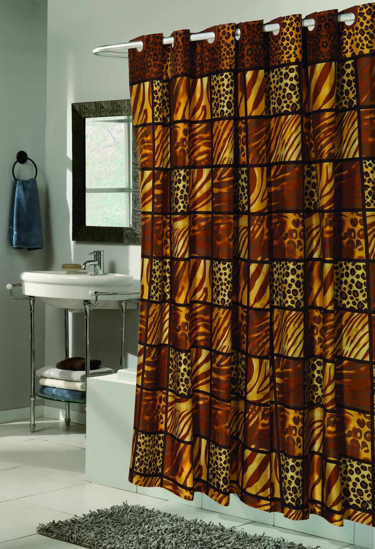 Carnation Home Fashions Inc EZ On Fabric Shower CurtainsNo Hooks Needed