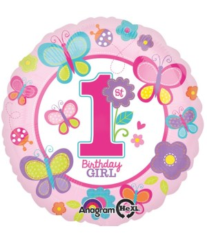 Balon 1st Birthday Girl Folie 45 Cm