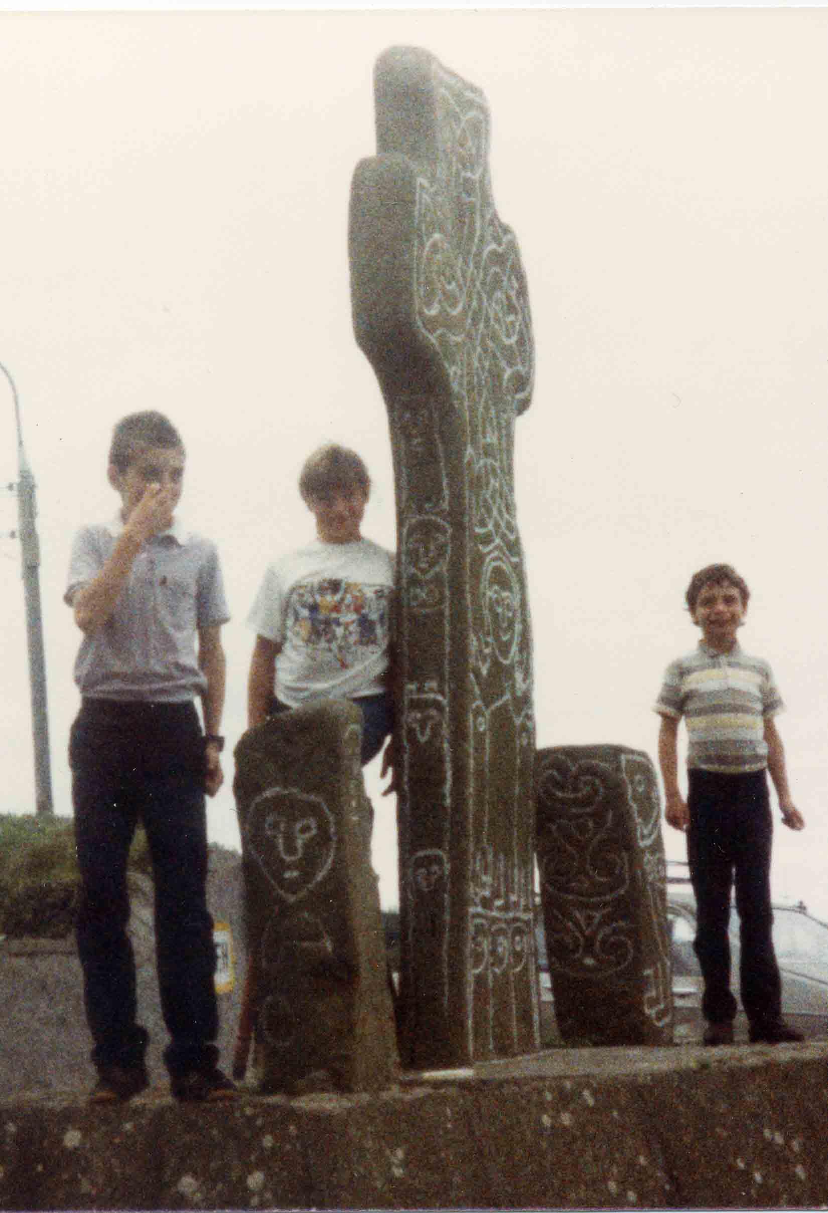 three schoolboys at the Donagh Cross
