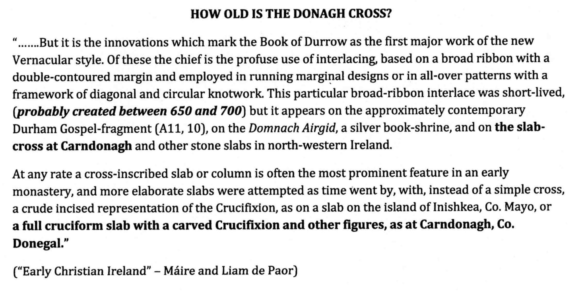 How Old is the Donagh Cross text of article