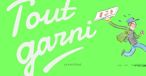 Présentation de Tout garni, avec un livreur de pizza courant hors du champs