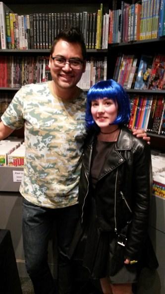 Ramona Flowers cosplay avec Brian Lee O'malley
