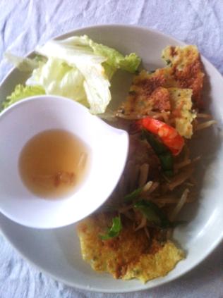crêpe vietnamienne, accord curcuma et poivre vert