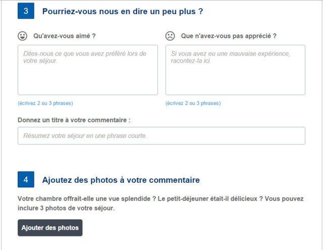 questionnaire de satisfaction booking.com