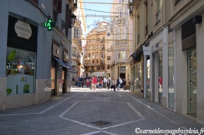 rue commerçante de Malaga