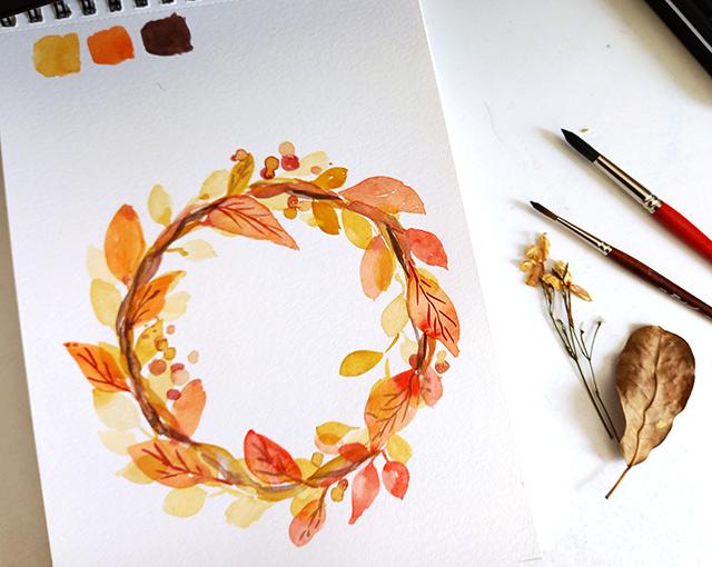 couronne automne aquarelle