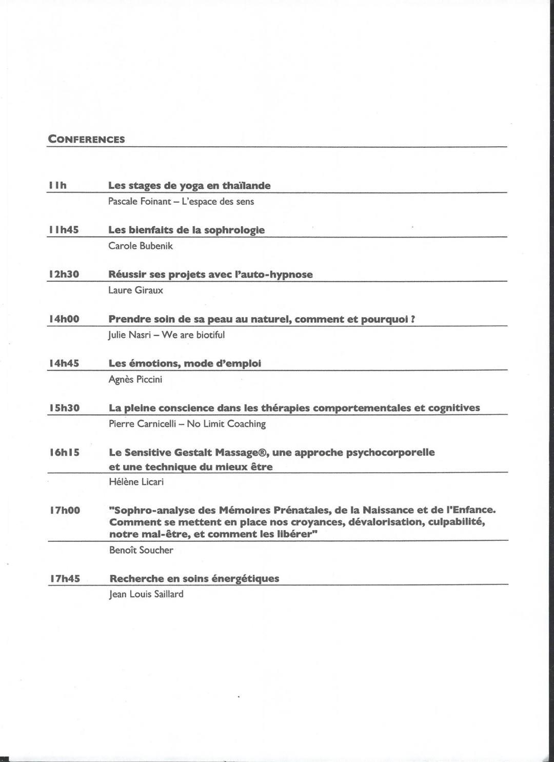 Liste des conférences