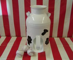 milk can cow painted
