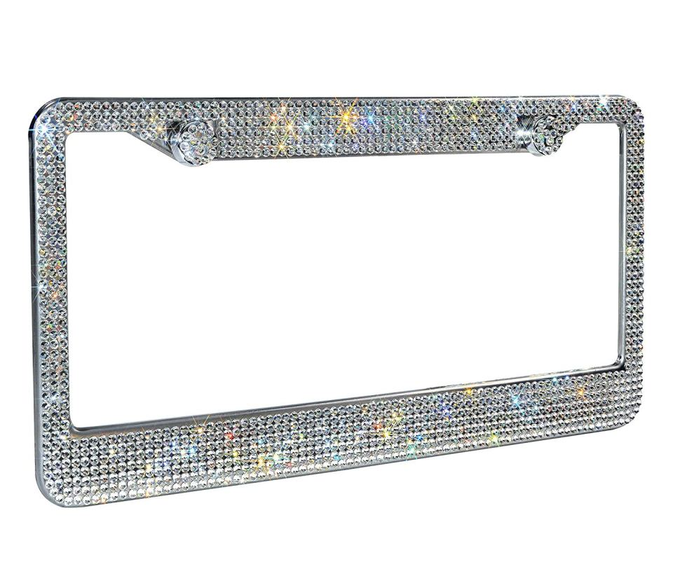 Luxury-Handcrafted-Bling-White-Rhinestone-License-Plate-Frame0