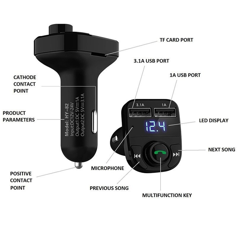 LIHAN Hands-free Call Car Charger Wireless Bluetooth FM Transmitter1