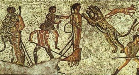 Mosaic of damnatio ad bestias from Zliten villa near Tripoli