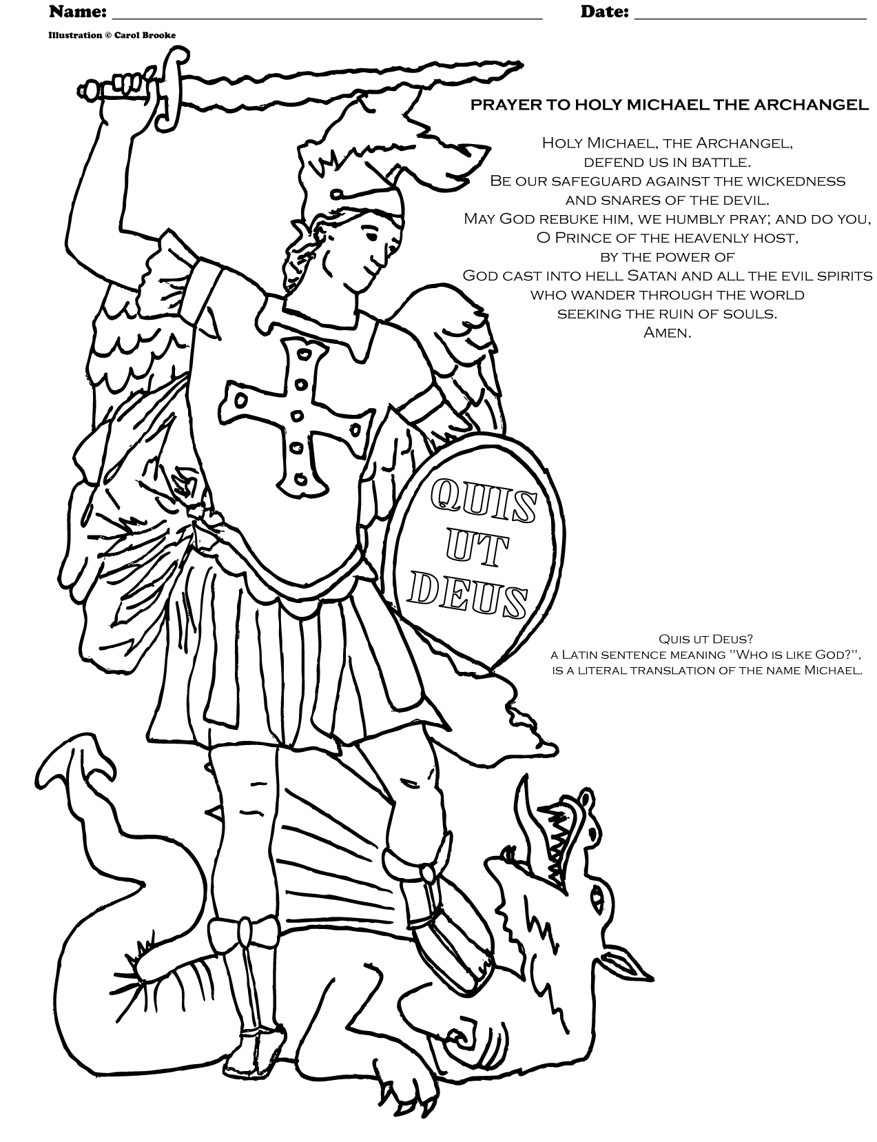 Archangel Michael Prayer And Coloring Page