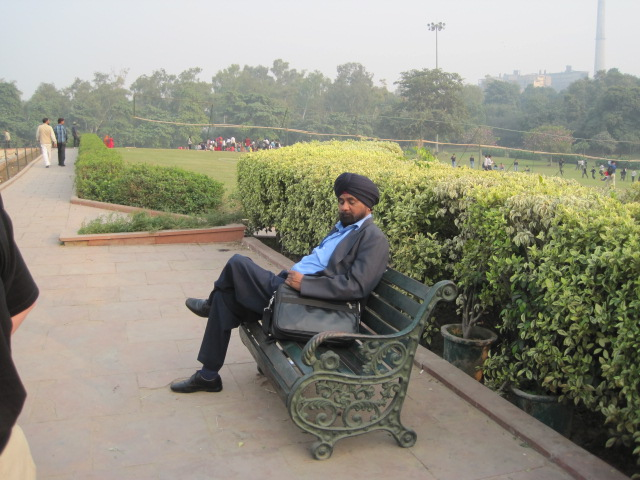 Sikh at Gandhi cremation site