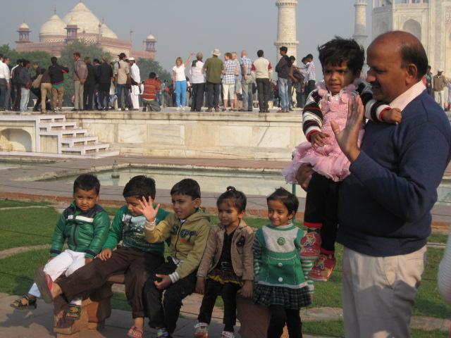 taj with kids cute
