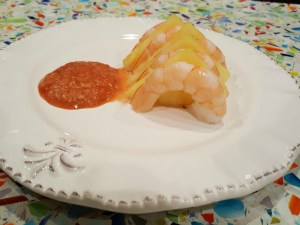 Shrimp and pineapple carpaccio