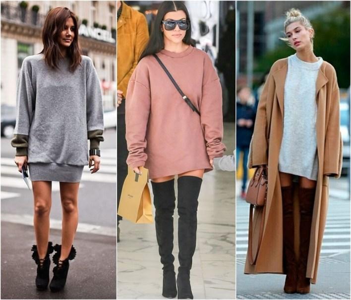 como usar vestido moletom sweatshirt