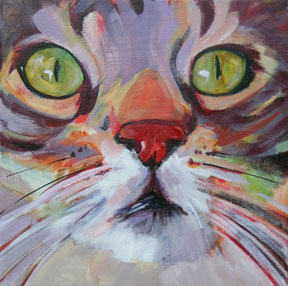 painting of the face of a cat