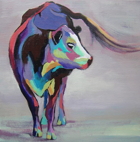 abstract painting of a cow