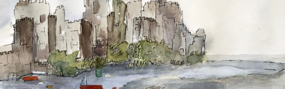 """Almost Home"" - Watercolor Conwy Castle caroleholcroft.com"