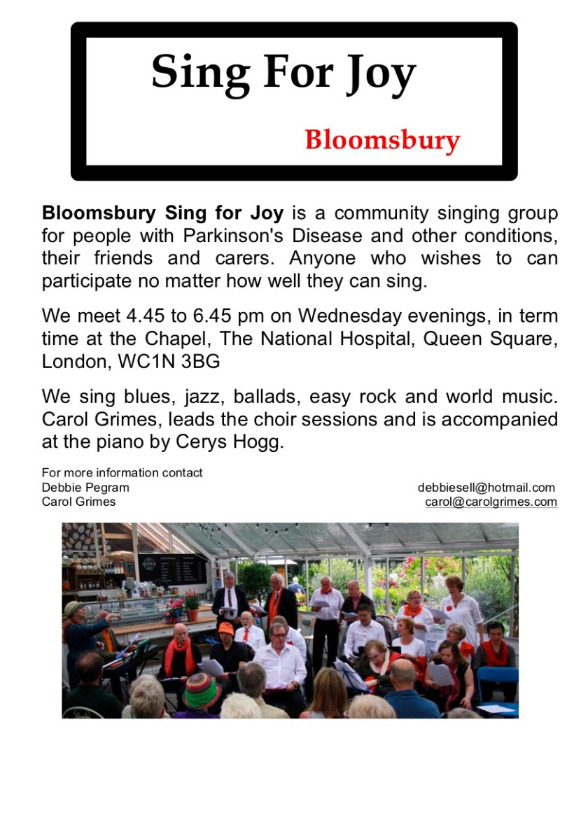 Bloomsbury Sing for Joy is a community singing group for people with Parkinson