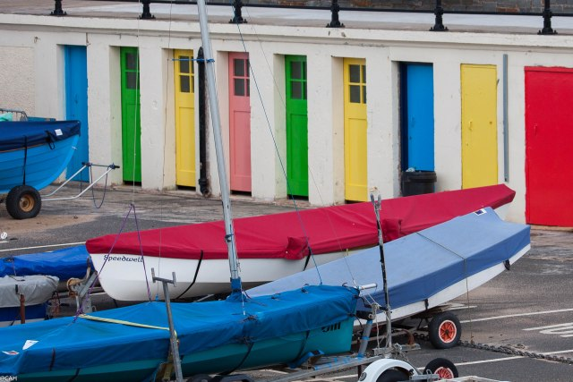 Coloured doors N Berwick Harbour 25 Feb 25 2015 (1 of 1)