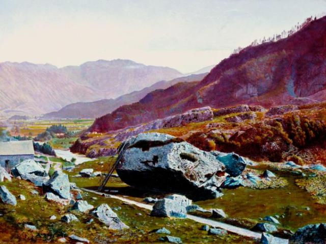 Bowder Stone, Borrowdale c.1863-8 Atkinson Grimshaw 1836-1893 Purchased with assistance from the Friends of the Tate Gallery 1983 http://www.tate.org.uk/art/work/T03683