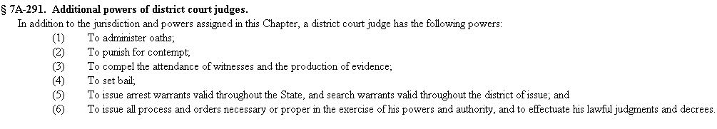 NCGS 7A-291 2015 ADDITIONAL POWERS OF DISTRICT COURT JUDGES