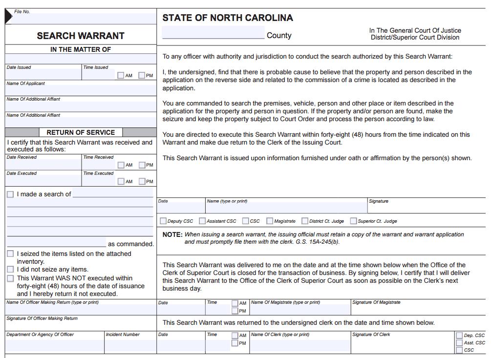 North Carolina Search Warrant Order
