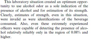 Odor of Alcohol Reliability Testing