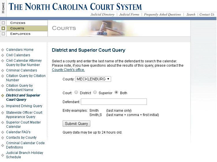 North Carolina Court Date Inquiry 2016 Felony Misdemeanor ALL COUNTIES