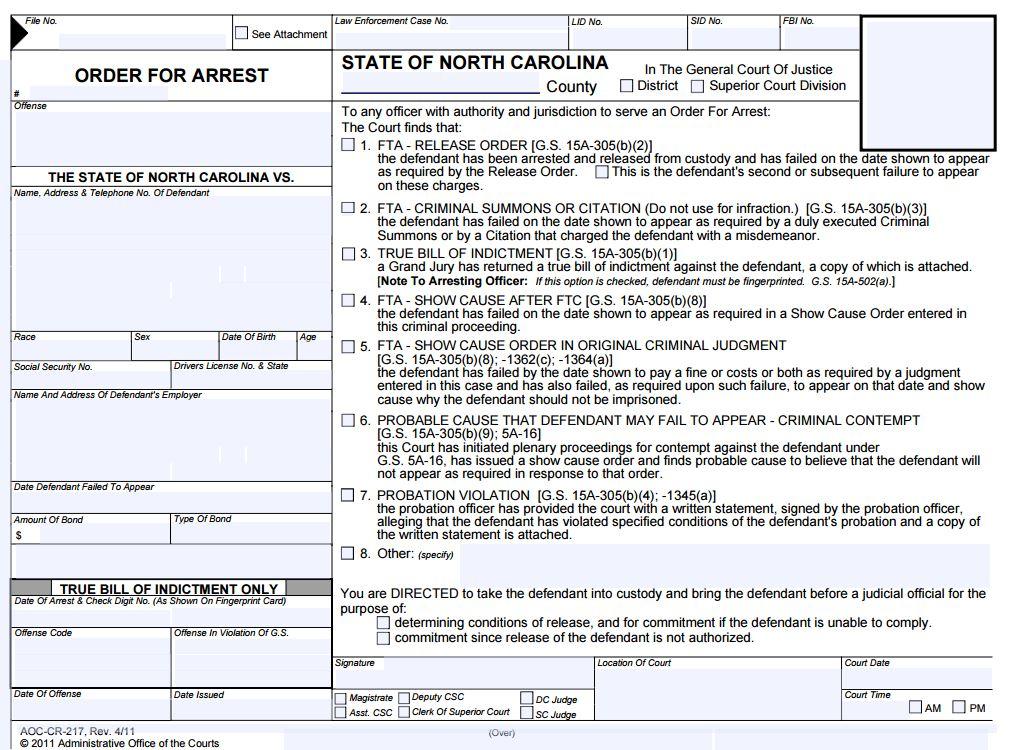 Order for Arrest North Carolina 2016