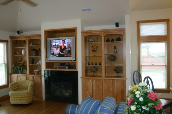 Custom built living room furniture and cabinets