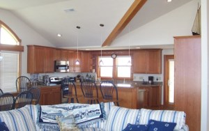 Custom interior design for OBX cottage kitchen and cabinets