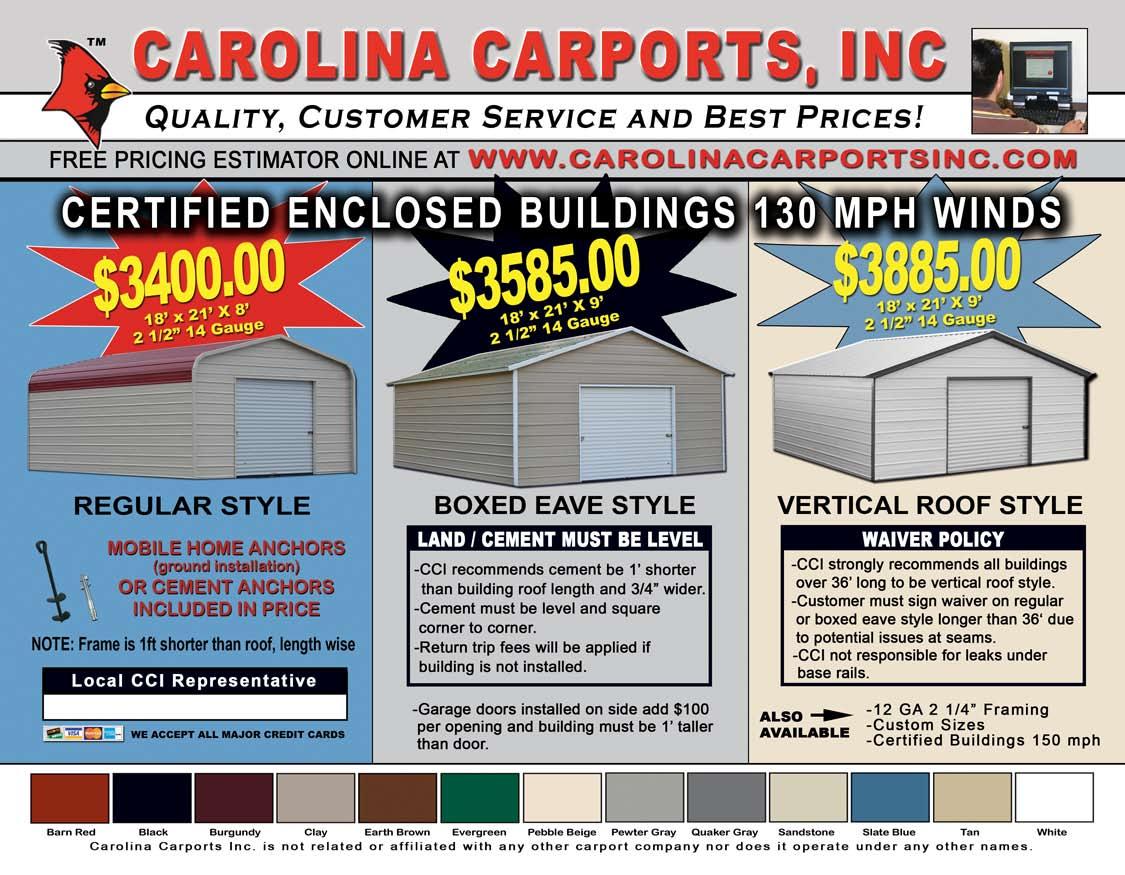 Carolina Carports Certified Carports Amp Garages