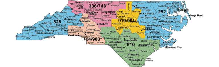 north caroline map area codes