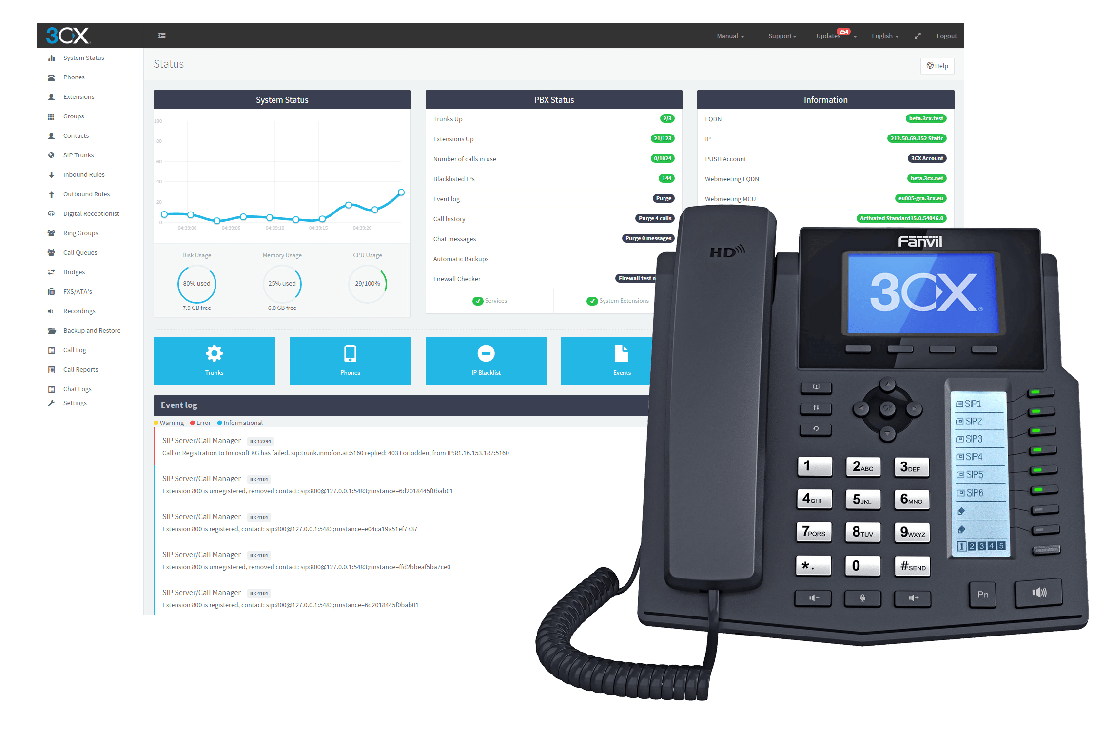 3cx dashboard and phone