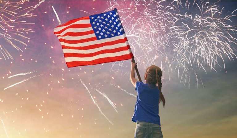 wave american flag fireworks