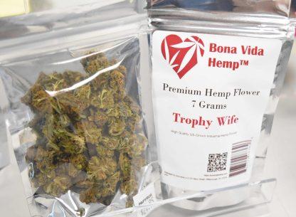 Bona Vida Hemp brand Trophy Wife 1/4 oz bag hemp flower