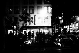 Market Street at night, San Francisco.