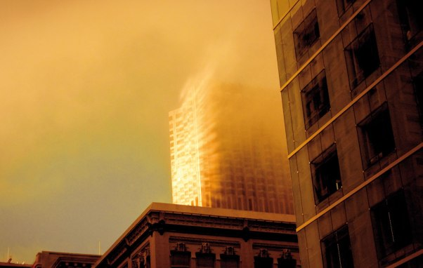 Catching fire. Downtown San Francisco.